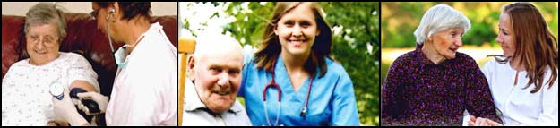 Professional home healthcare providers with patients